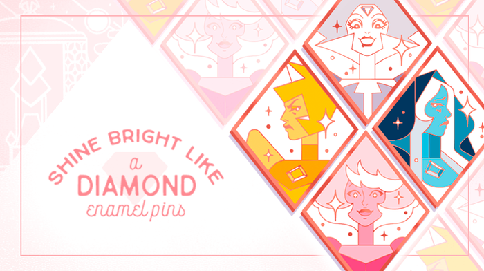 """""""Shine Bright Like a Diamond"""" is a set of hard enamel pins that features the respective Diamond's design from Steven Universe."""