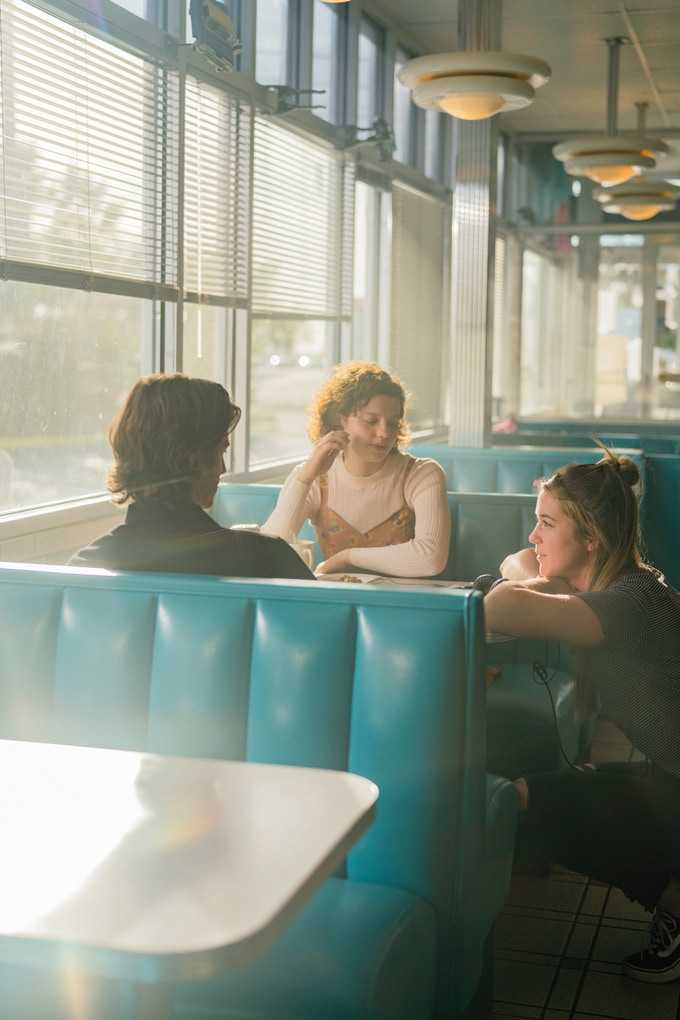 Writer/Director Racheal talks through the scene with actors Peter Vack and Chloë Levine