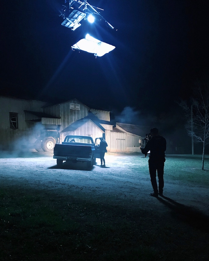 In the early morning hours, the crew, including Movi Operator Neil Maciejewski, prepares for their final flashbacks setup at the end of day 5, outside an old abandoned cotton mill in Watkinsville, GA