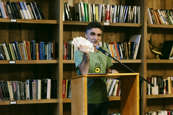 Poet Carlos Hernandez performs at the Summer of Poetry reading