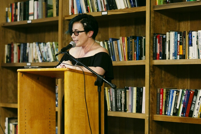 Fran Wilde at Kickstarter's Summer of Poetry reading event. Photo by Lauren Renner.