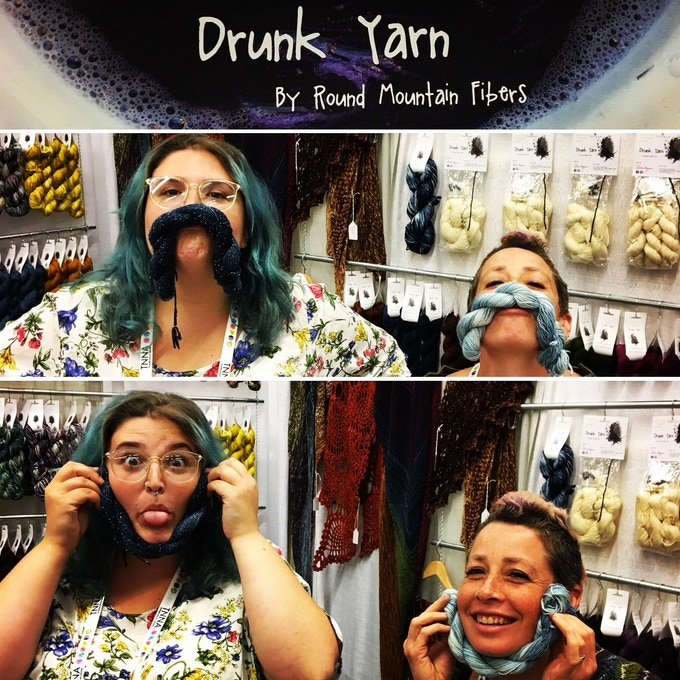 Goofing off at our Booth at the Summer 2018 National Needle Arts Show.