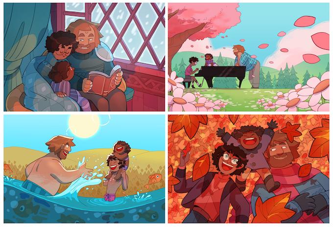 Set of 4 postcards - 4 seasons