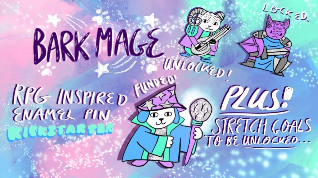 Bark Mage; Retro Gaming RPG Inspired Cute Pun Enamel Pin project video thumbnail