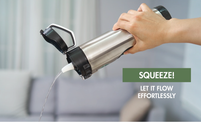 Squeeze the Pump! Let the clean water flow effortlessly with no breaks.
