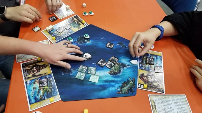 Bones of the Caribbean with optional Game Mat at Gen Con 2018 Actual Game Play in the Game Hall