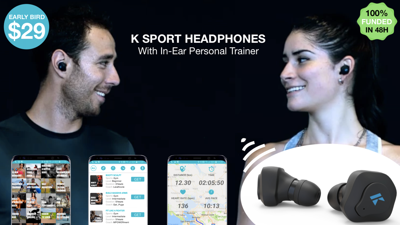 True Wireless Headphones with unlimited access to 100+ adaptive audio training plans for running, cycling, gym, fitness and many more.