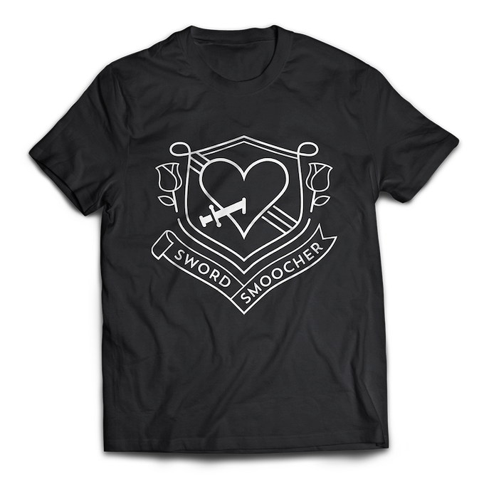 This super-soft, high-quality cotton blend Sword Smoocher shirt color combo (white on black) is only available via the Ultimate Collector's Edition tier!