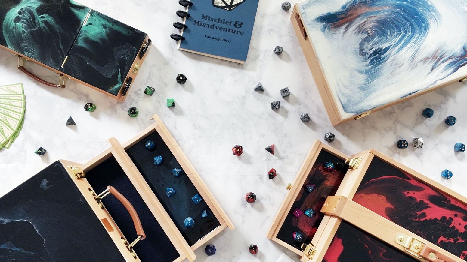 Available for Pre-Order January 4! A new line of bespoke tabletop gaming storage perfect for your next adventure. Each piece is hand painted and completely one-of-a-kind.