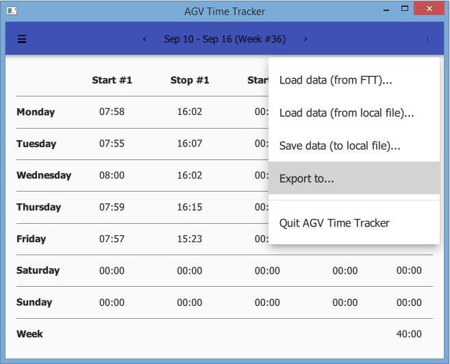 Time Tracker menu