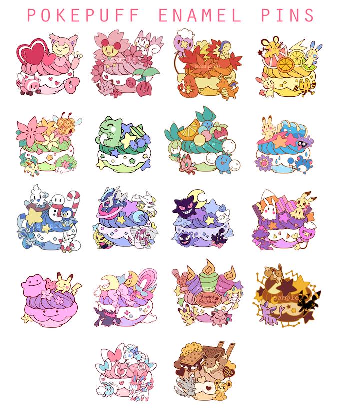 Pokémon Poké Puff Enamel Pin Set Vol  2 by Aubry K