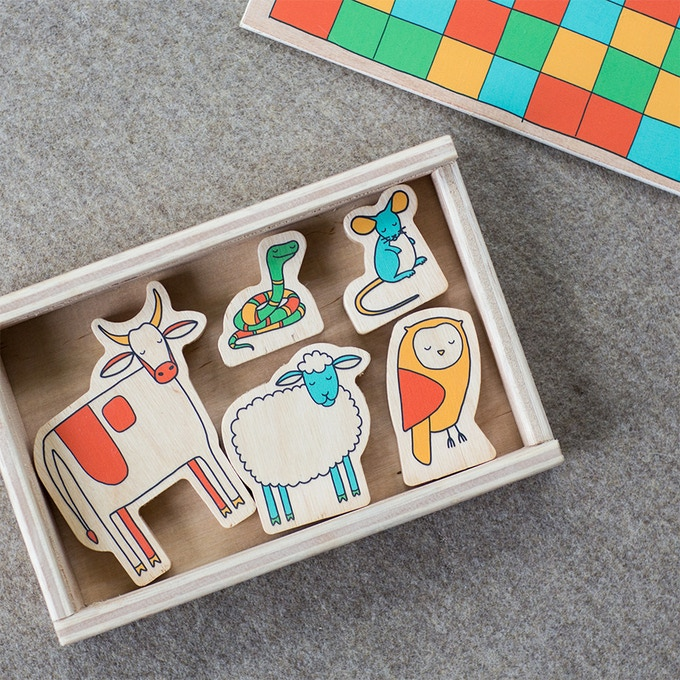 Ling 6 Sounds Wooden Animal Playset (Shhh... they're sleeping)