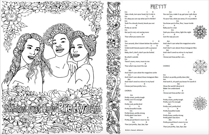 The custom created Girl coloring songbook.