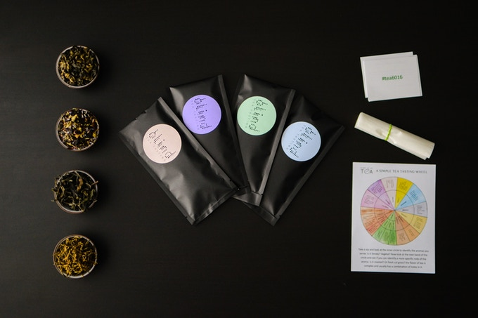 Inside the monthly blind tea tasting pack - 4 teas for blind tea tasting, a tasting wheel, reveal cards and some filters to make tea on the go if you opt for them.