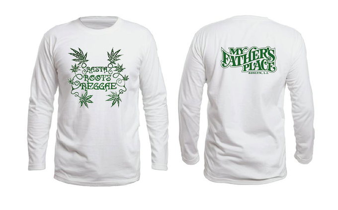 'Rasta Roots Reggae' white long sleeve t-shirt (100% cotton) with My Father's Place logo on back.