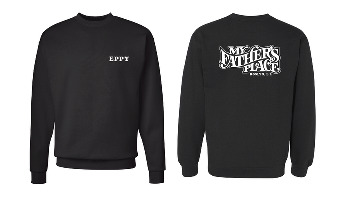 'Eppy' black sweatshirt (100% cotton) with My Father's Place logo on back.