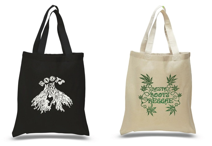 'Roots' and 'Rasta Roots Reggae' black/natural 100% cotton tote bags.