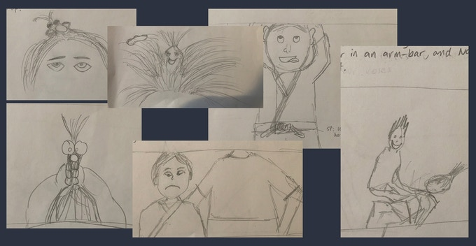 A collection of sketches I did as part of the original storyboard for the book