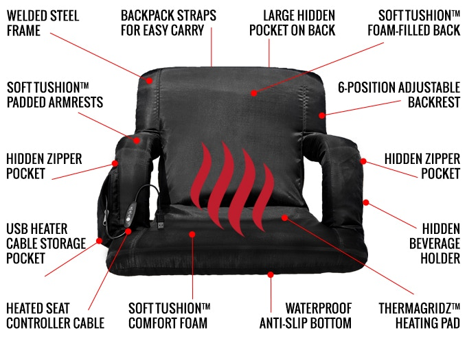 3970246fa The Hot Seat - World s First USB Heated Stadium Chair by Pop Design ...