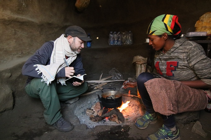 Abebech showing me traditional village cooking in the Ethiopian Highlands.