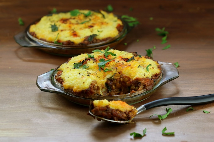 Shepherd's Pie - with lentil filling & mashed potato topping