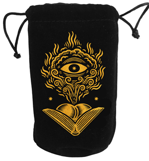 Mock up of bag artwork. Bags will be velvety, with a mystically-silky-smooth lining.