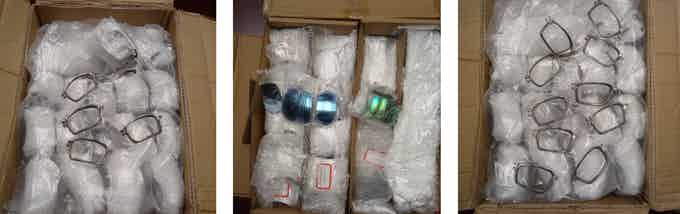Boxes of orbitals and lenses already manufactured