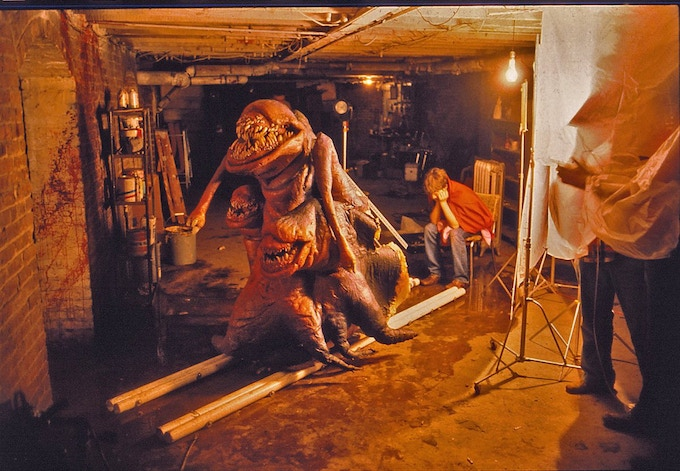 Set photo of the original Deadly Spawn monster! Photo by John Dods