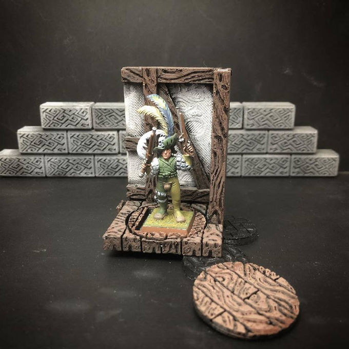 Tudor Tavern prototype piece, a possible texture for the backer-voted sets. You can also see a square base adapter at work, as well as a texture base tied to that theme (in case you want to base your models to match).