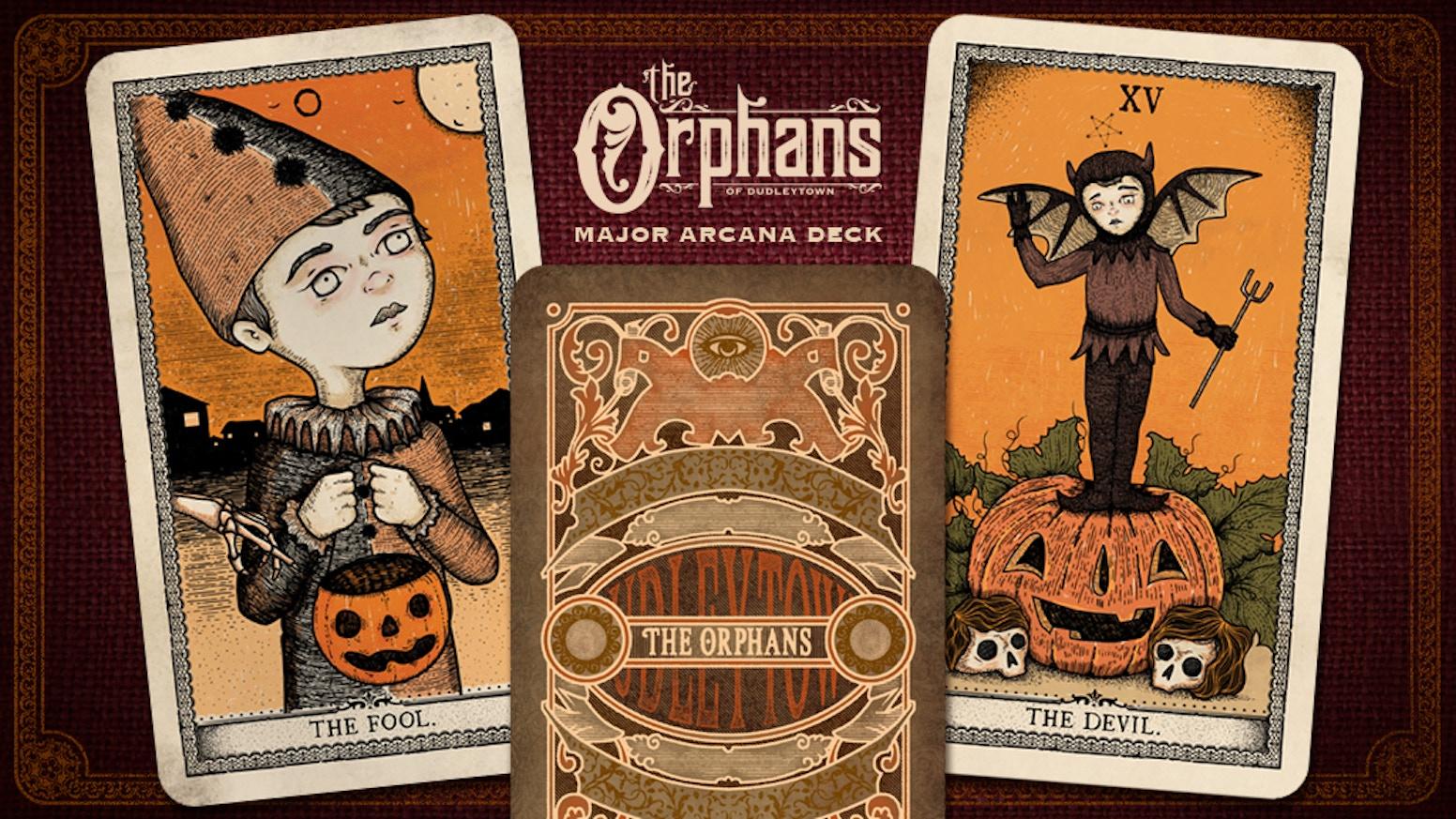 An illustrated Victorian era, halloween inspired major arcana tarot deck featuring the Orphans.