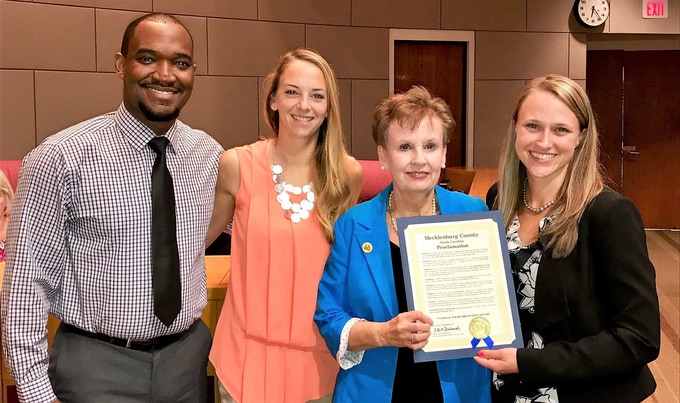 Mecklenburg County Proclamation, National Suicide Month: Keon Lewis, Kimberly Mohns Roberts, Pat Cotham (At Large, Mecklenburg Board of County Commissioners), Amanda Parker