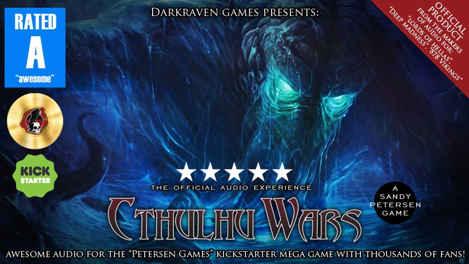 """Awesome audio for the """"Cthulhu Wars"""" board game by Sandy Petersen. Music and sound by Darkraven Games to bring your apocalypse to life!"""