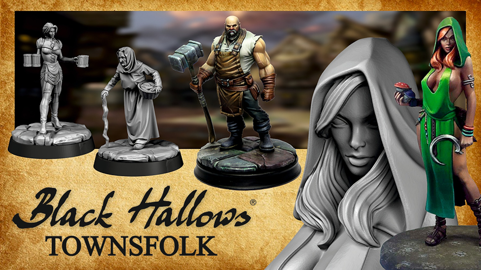 Black Hallows Townsfolk, a range of 28mm or 32mm high quality pewter miniatures for RPG, War Games and Collectors
