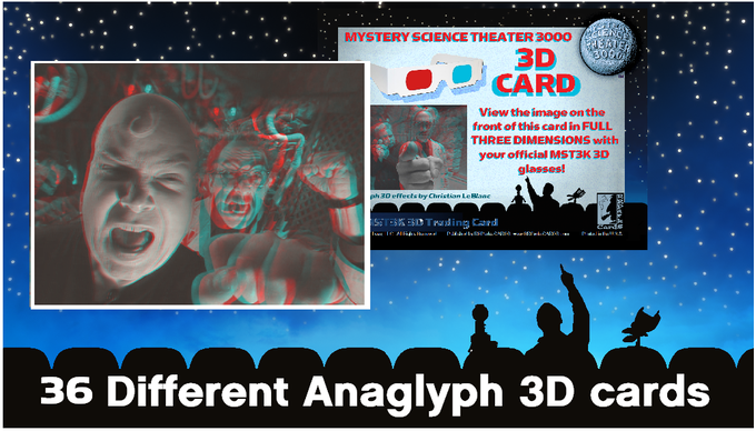 Examples of just ONE of the 36 different Christian LeBlanc designed MST3K Anaglyph 3D cards in MST3K Series Two
