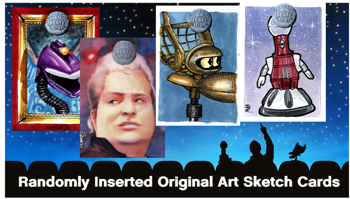 Examples of genuine, original art sketch cards randomly inserted in packs of MST3K Trading Cards (naturally every master set has ONE sketch card)