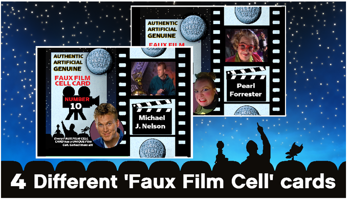 Examples of 2 (of 4 different) MST3K Faux Cell Cards ... EVERY cell in EVERY card is unique. No two cell cards are alike