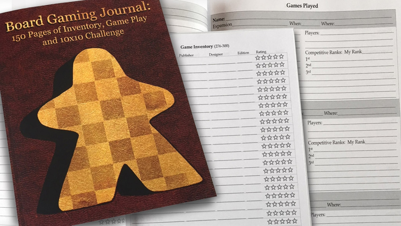 A journal designed for board game enthusiasts.