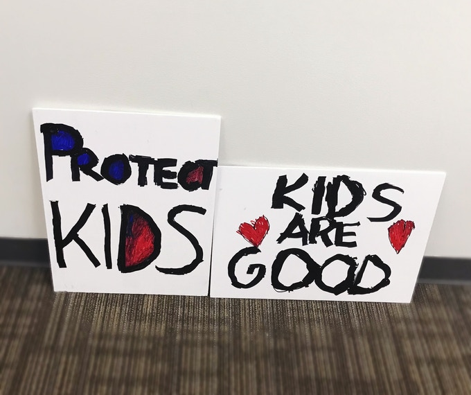 Signs from Protect LDS Children Supporters