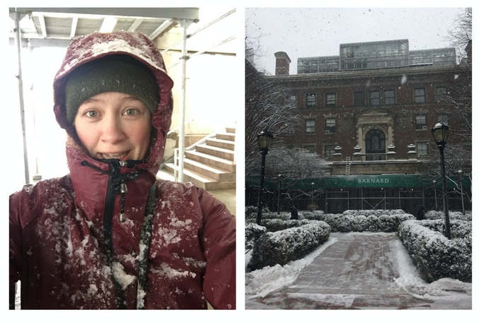 Playwright Ellen Denny trailblazing through a blizzard to visit Barnard College (NYC) where Harriet was forced to choose between her job and her engagement in 1906.