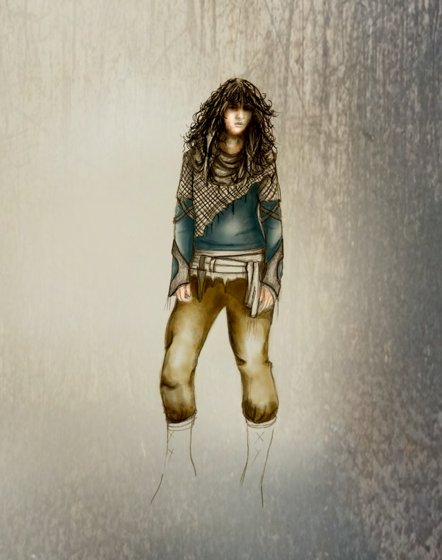 Amanda's original concept art for Mama's clothing...