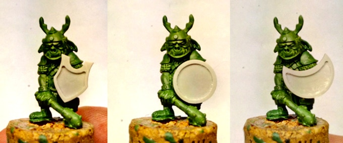 How our shields fit with the Goblin miniature available as add on...