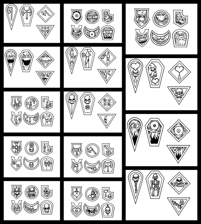 All the designs I did today (Aug 29th). More to come tomorrow :)