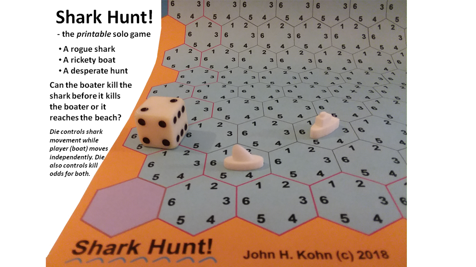 Shark Hunt! - a printable prototype solo game by John H