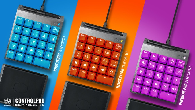 Example of dedicated keycap sets for photoshop, illustrator, and premiere