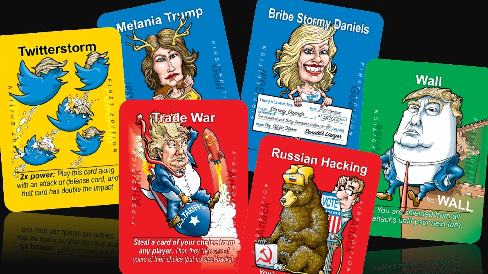 A hilarious graphic card game for the era of American insanity. Strategic, informative, and fun.