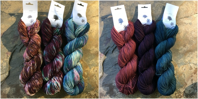 Left: Hopniss, Elderberry, Succulents. Right: Hopniss Flower, Elderberry Purple, Succulent Green.