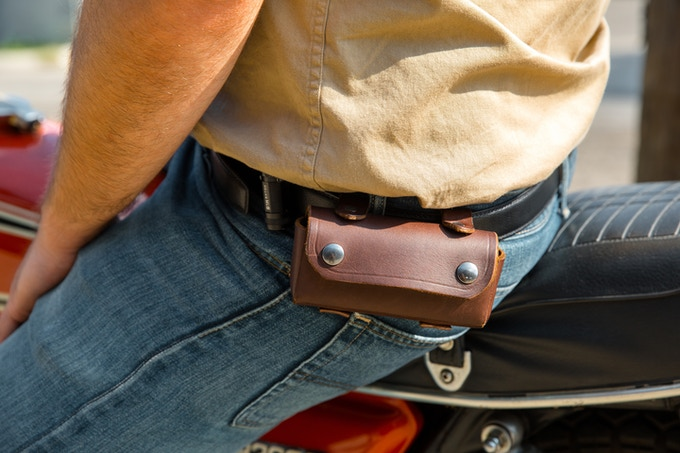 The UNION™ can be carried in a pocket, separated in two pockets, or in the optional leather pouch.