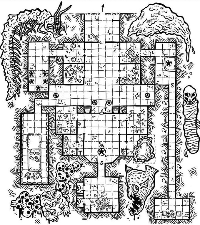 An example of one of the many maps in Jungle Tomb of the Mummy Bride, courtesy of the talented Karl Stjernberg.  Check him out at @skullfungus on Instagram.