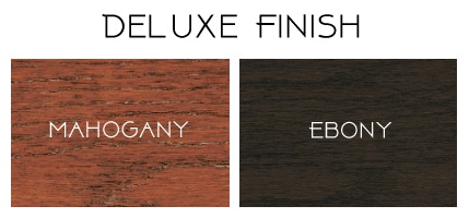 In addition to Raw (shown in photos above), pledges at this level can choose Mahogany or Ebony finishes.