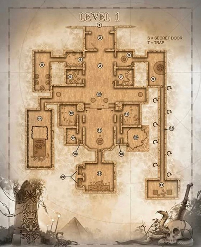 """An example of one of the fabulous sepia-tone """"treasure style parchment maps by the talented John Russell, available in our stretch goals"""